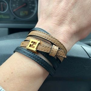 Fendi FF 2-Tone Wrap-Around Leather Bracelet